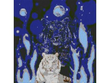 Vorlage für Ministeck Weltall Tiger 80x80cm cartoon Style als Volldruck