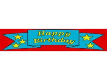 Vorlage für Ministeck Happy Birthday 140x47cm bunt als Entwurfdruck
