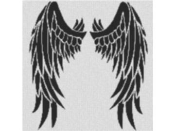 Vorlage für Ministeck Wing 80x80cm schwarz/weiß als Volldruck
