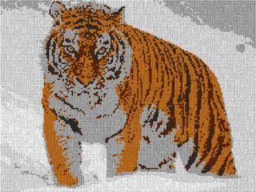 Vorlage für Ministeck Tiger im Schnee 80x60cm cartoon Style als Entwurfdruck